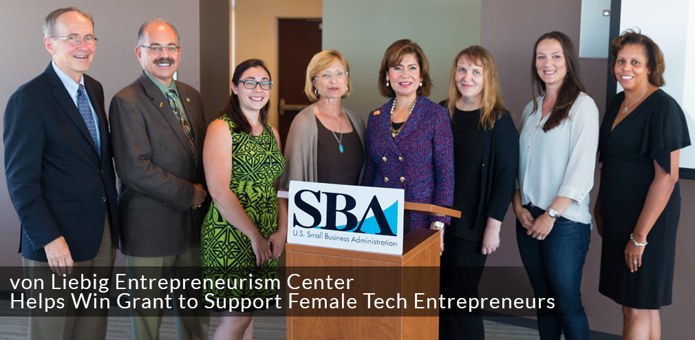 Group photo from mystartupXX press conference: Photo includes Rady School Dean Robert Sullivan, Jacobs School Dean Albert Pisano, Jacobs School alumnae Sarah Esper, Vice Chancellor for Research Sandra Brown, SBA Administrator Maria Contreras-Sweet