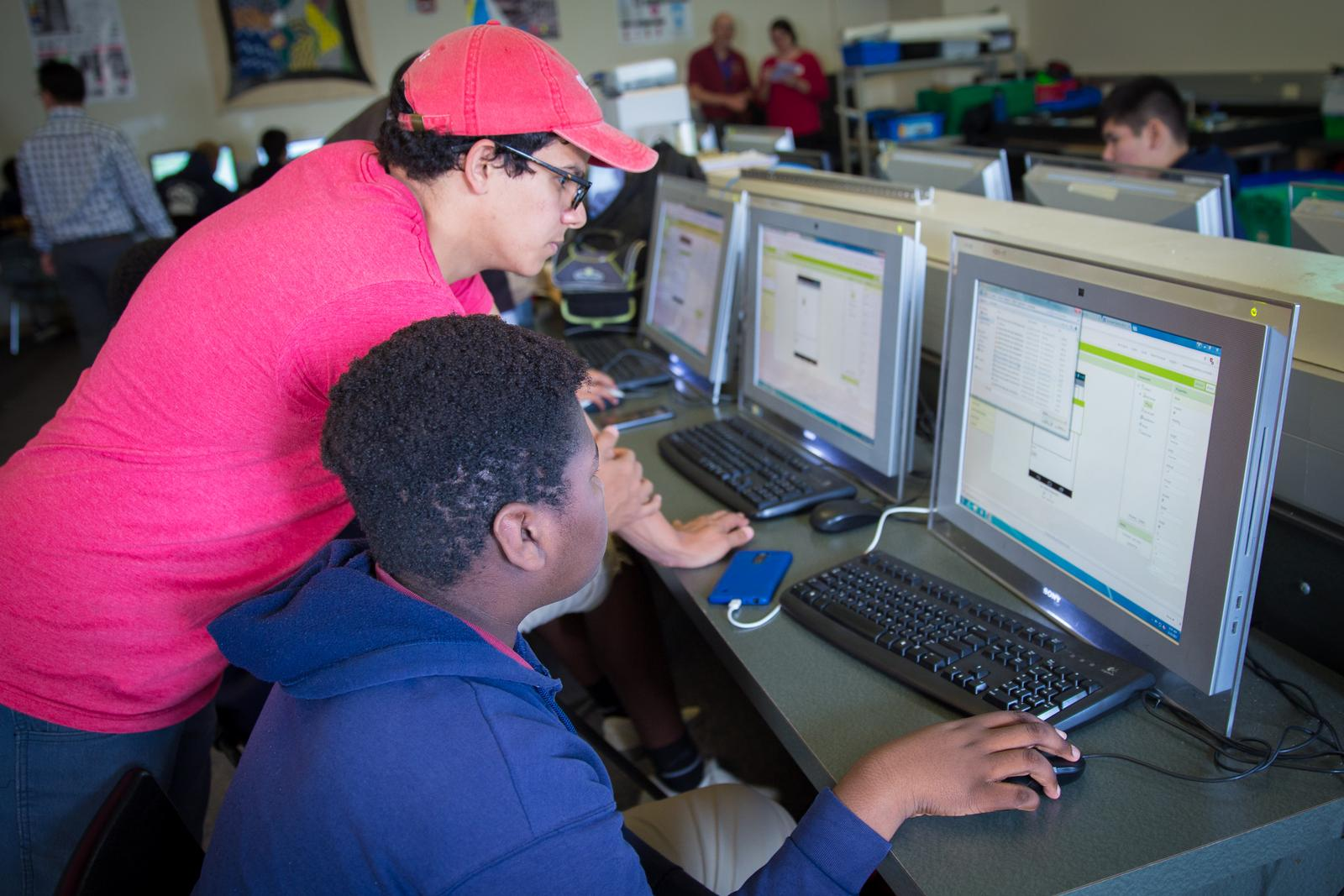 Students learning how to code.